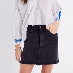 MADEWELL Black Raw Edge Mini Denim Skirt